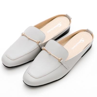 River&Moon穆勒 台灣製細線馬蹄Q軟方頭低跟鞋 灰藍