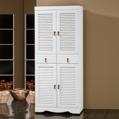 Bernice-烤白2.5x5.8尺鞋櫃-75x40.5x174cm