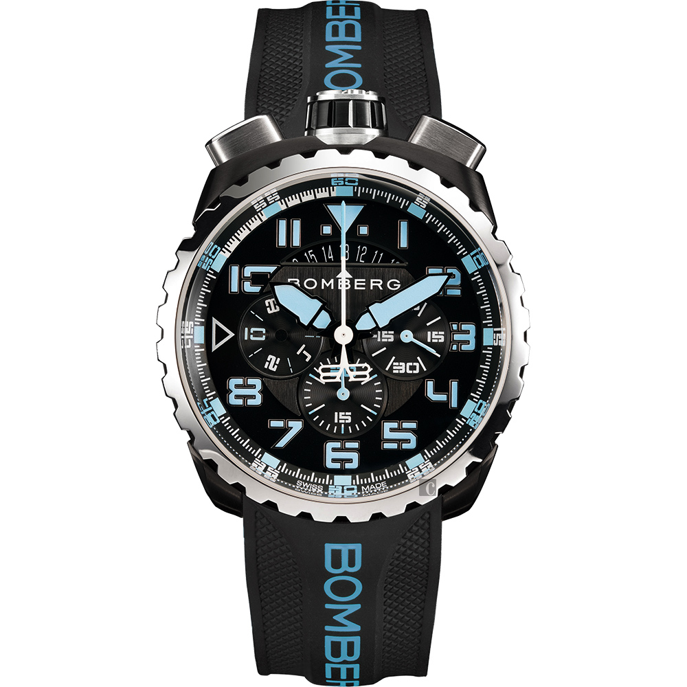 BOMBERG 炸彈錶 BOLT-68 NEON 飛行計時碼錶-藍時標/45mm