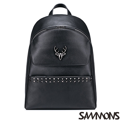 SAMMONS 真皮亞歷克斯鉚釘後背包 龐克黑