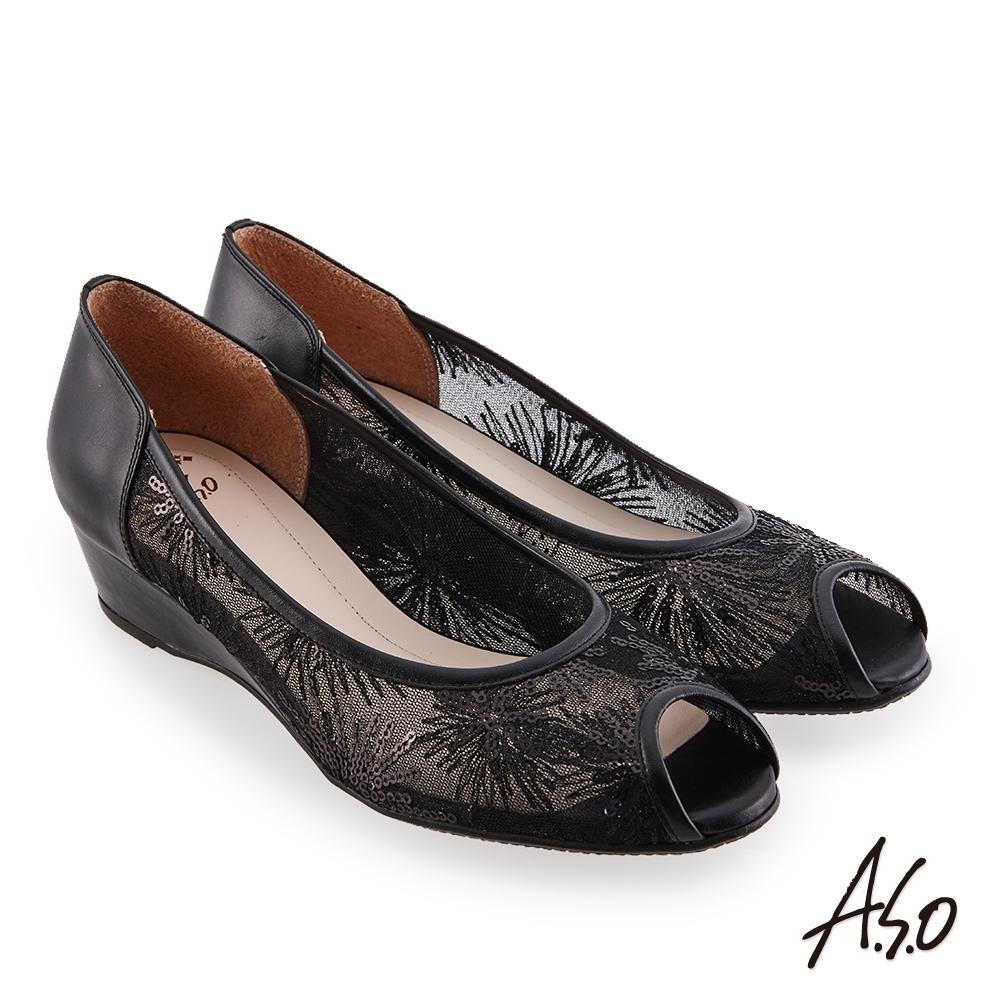 A.S.O 時尚流行 優雅時尚時髦楔型跟魚口鞋-黑