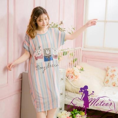 睡衣 全尺碼 牛奶絲熊熊直條短袖連身裙睡衣(優雅藍灰) Sexy Meteor