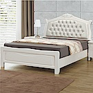 文創集 法蘭法式白5尺皮革雙人床台組合(不含床墊)-156x211x131cm免組