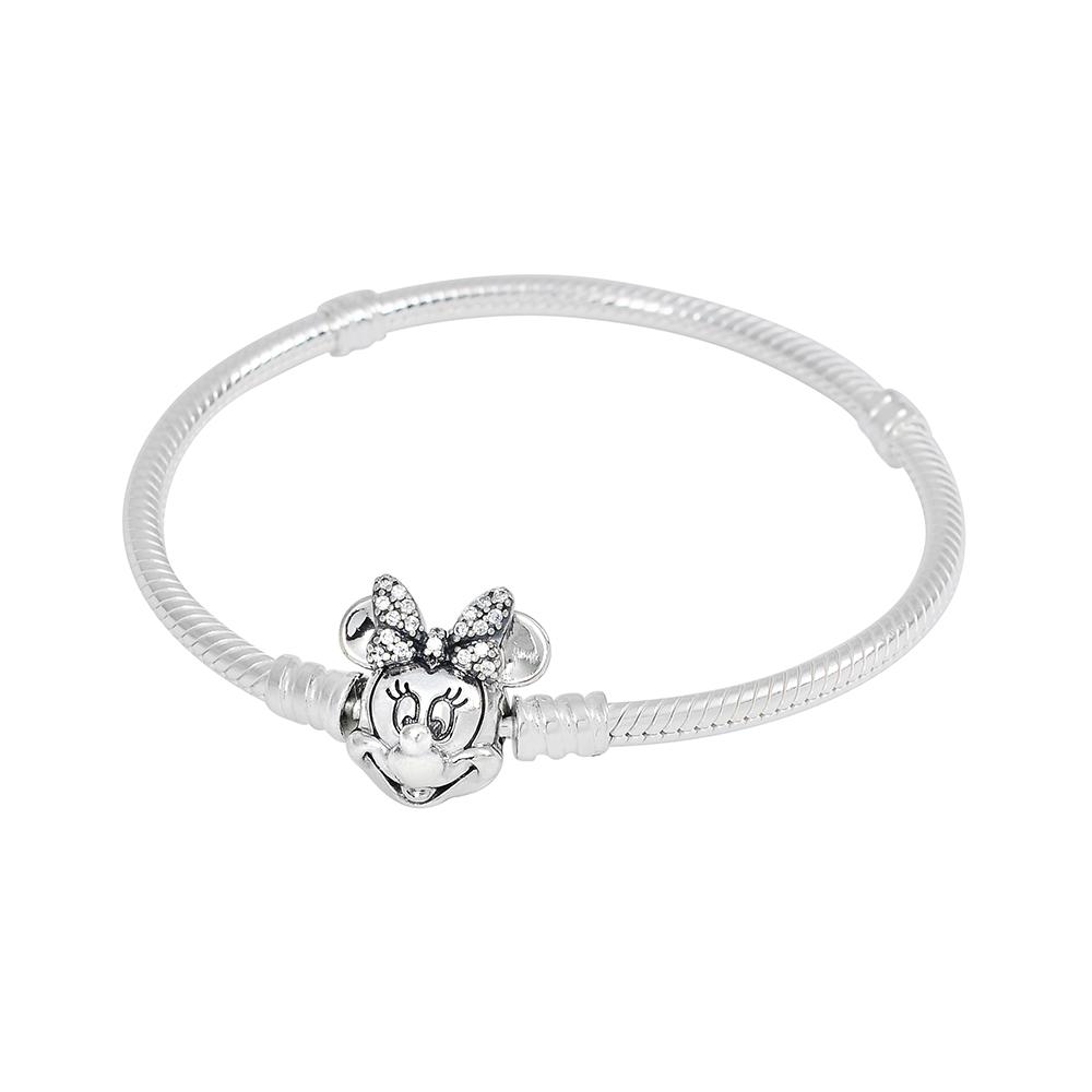 Pandora 潘朵拉 閃亮米妮扣頭 925純銀 蛇鍊手鍊手環