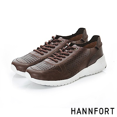 HANNFORT RS8真皮洞洞透氣休閒鞋-獨特棕