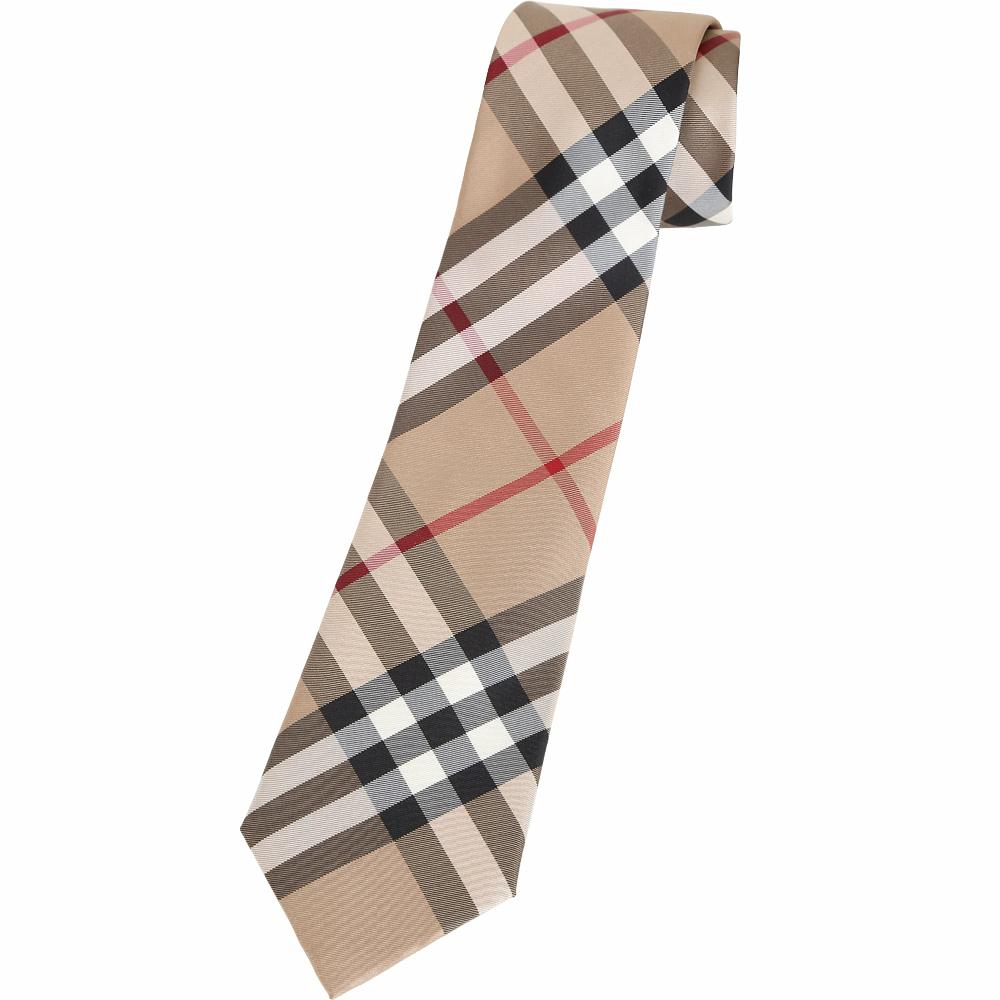 BURBERRY 現代剪裁格紋絲質領帶(駝色)