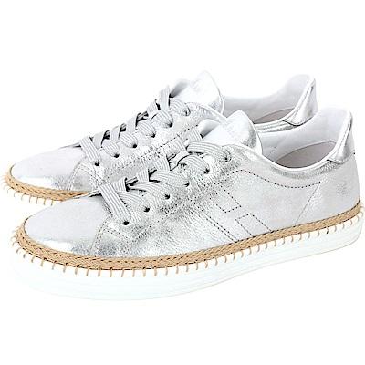 HOGAN R260 H 縫線草編細節冰裂紋繫帶滑板鞋(銀色)