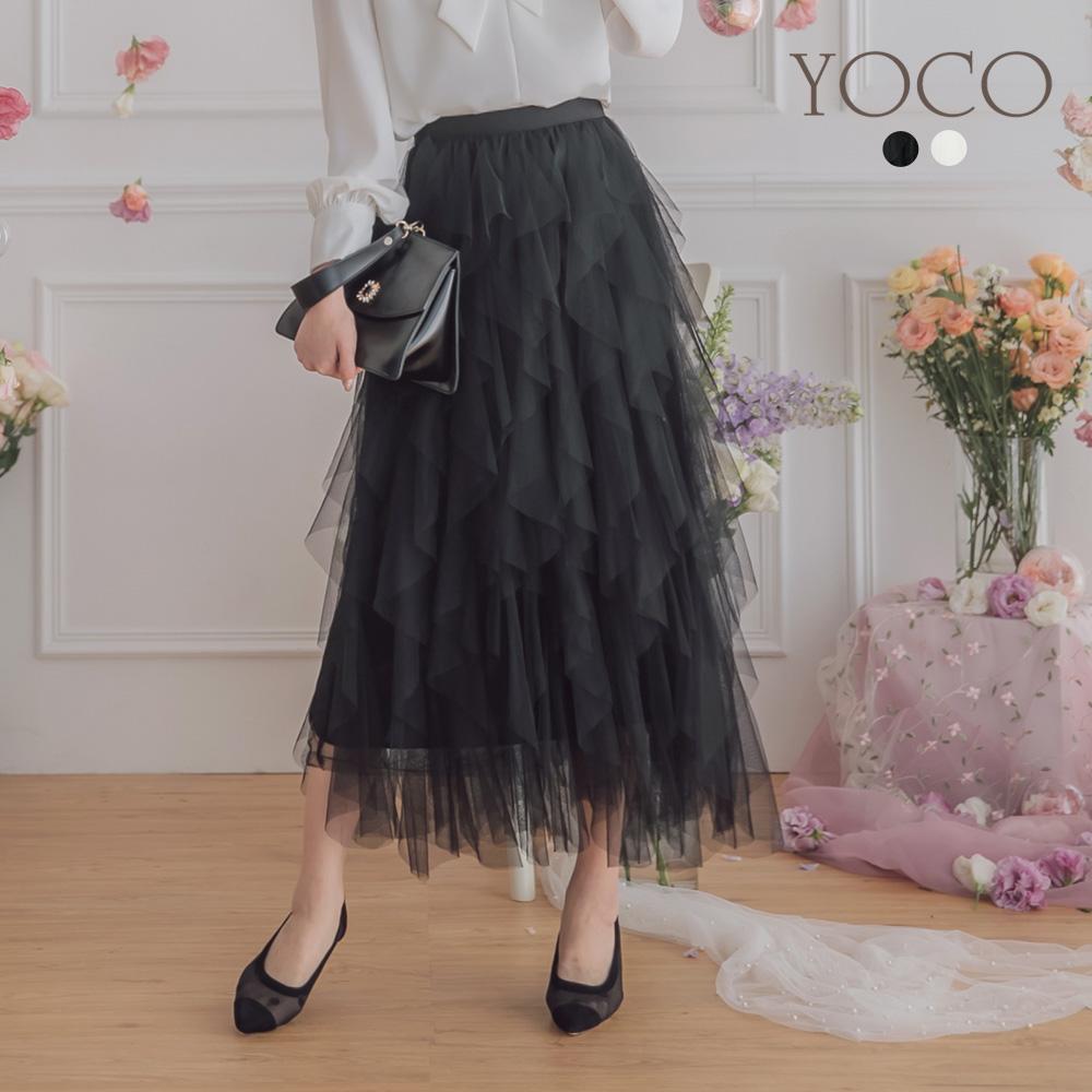 東京著衣-YOCO 浪漫仙氣彈性腰頭荷葉多層次紗裙(共兩色)