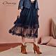 OUWEY歐薇 雙層蕾絲百摺網紗裙(藍) product thumbnail 1