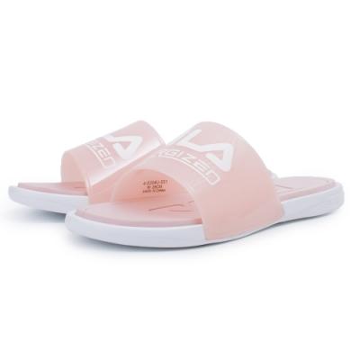 【FILA】一片式透明拖鞋 女鞋-粉(4-S304U-511)