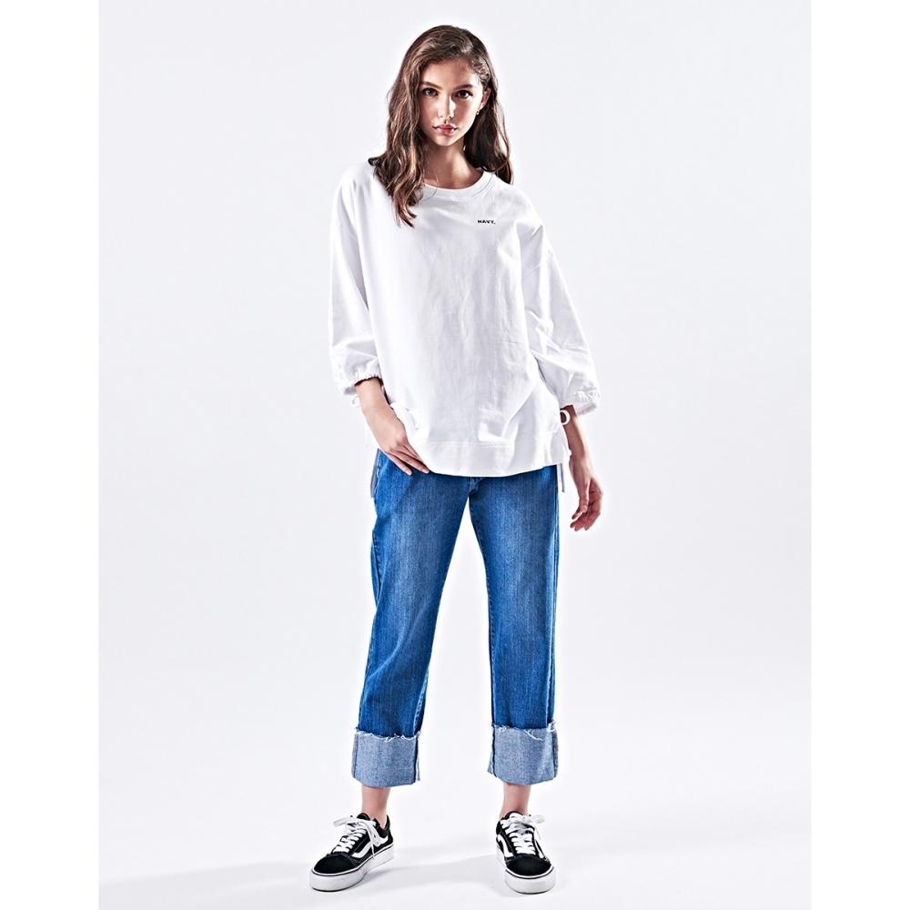 NAVY-可反折復古牛仔褲-女【VNA047】