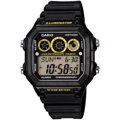 CASIO 雷神戰士個性運動電子錶-黑x亮黃圈(AE-1300WH-1A)-43mm