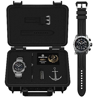elegantsis 中華民國海軍艦隊計時限量套錶-黑x銀/47mm