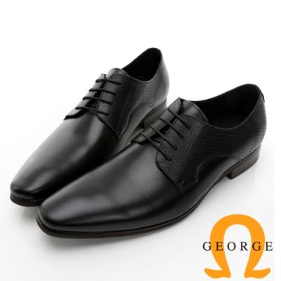 GEORGE 喬治皮鞋 經典系列 真皮素面後跟壓紋綁帶紳士鞋 -黑