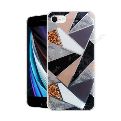 VXTRA 燙金拼接 iPhone SE 2020/SE2 大理石幾何手機殼 保護殼(金耀黑)