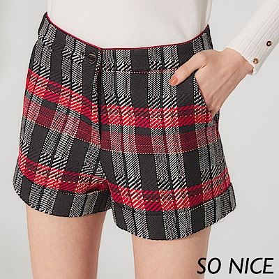 SO NICE經典蘇格蘭格紋毛呢短褲