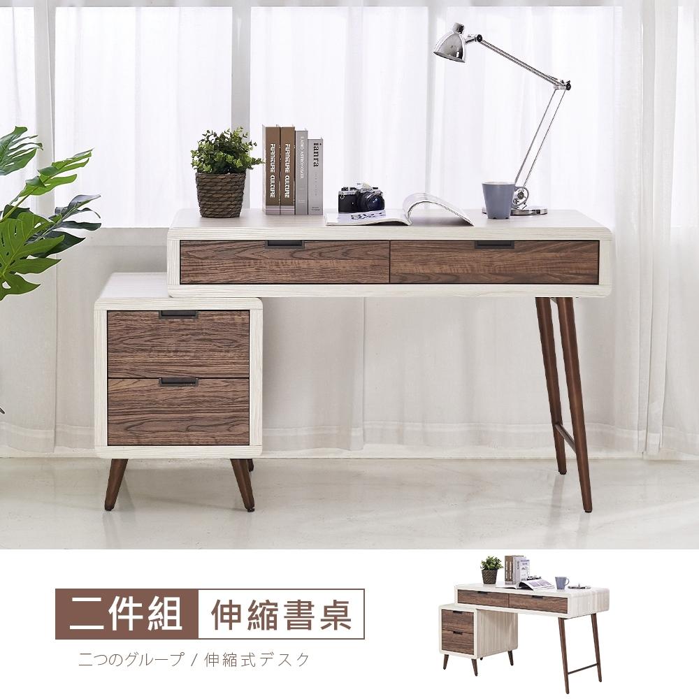時尚屋 班諾北歐4尺伸縮書桌 寬120~152x深59.5x高78cm