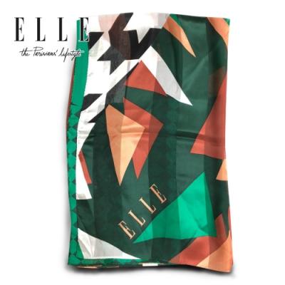 時時樂-ELLE優質桑蠶絲法式優雅圖印花圖案披肩圍脖