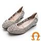 GEORGE 喬治皮鞋 彩鑽花朵舒適小方頭平底鞋 -銀灰色 product thumbnail 1