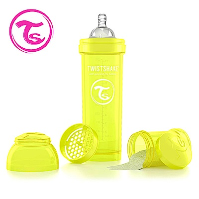 Twistshake 瑞典時尚 彩虹奶瓶/防脹氣奶瓶330ml/奶嘴口徑1mm-星光黃