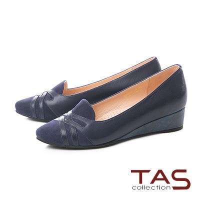 TAS條紋交叉麂皮拼接小坡跟尖頭娃娃鞋–內斂藍