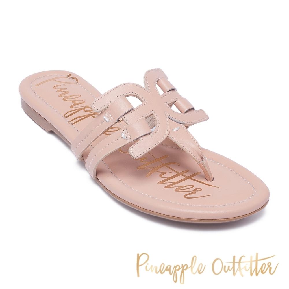 Pineapple Outfitter 夏日時尚皮革造型夾腳拖涼鞋-粉色