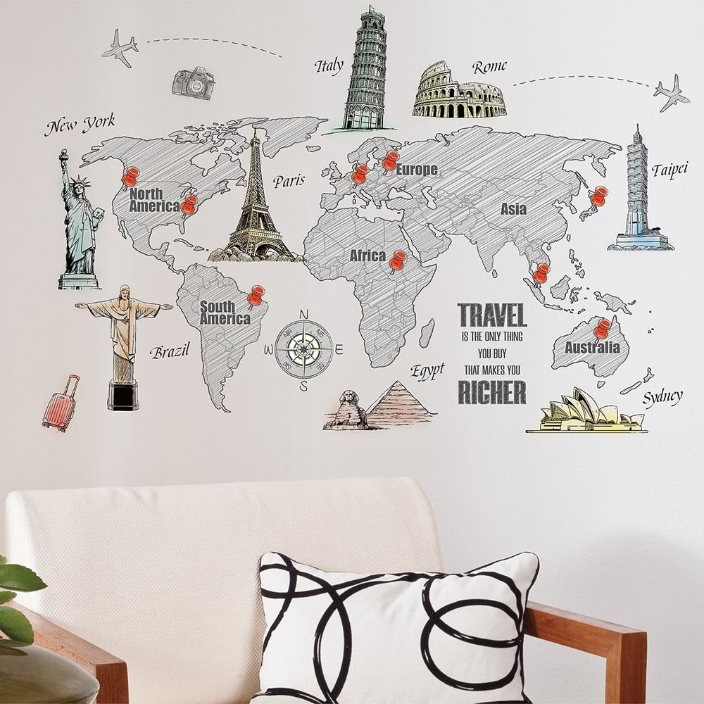 itaste小品味 GI242 手繪建築世界地圖創意壁貼