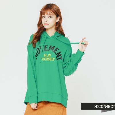 H:CONNECT韓國品牌女裝後開岔印字帽T-綠快