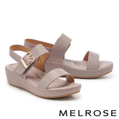 涼鞋 MELROSE 極簡時尚一字繫帶楔型涼鞋-灰