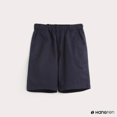 Hang Ten-童裝素面腰部鬆緊百慕達褲-藍