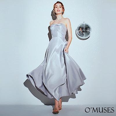 OMUSES 蝴蝶結平口緞布長禮服