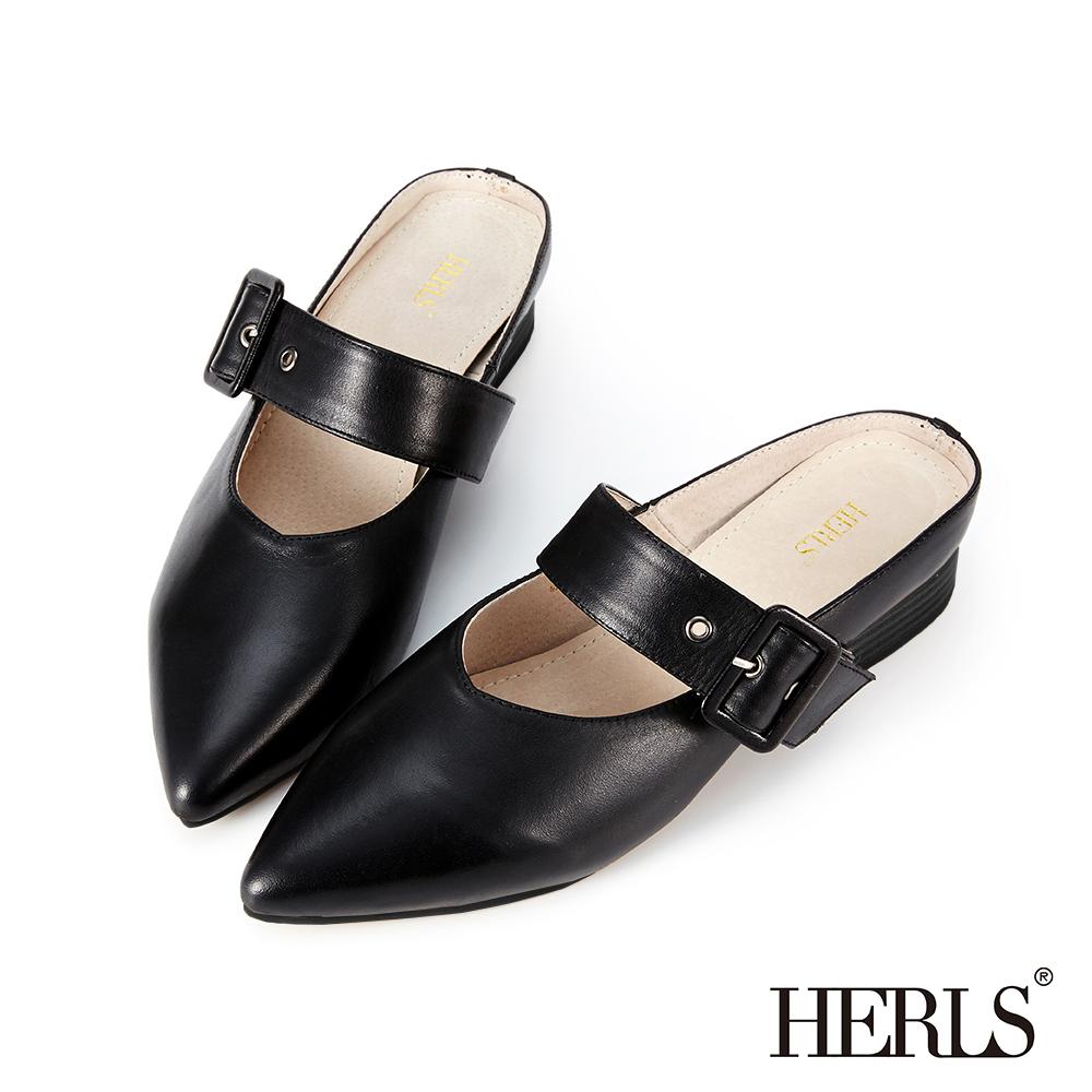 HERLS 氣質溫柔 全真皮瑪莉珍尖頭穆勒鞋-黑色