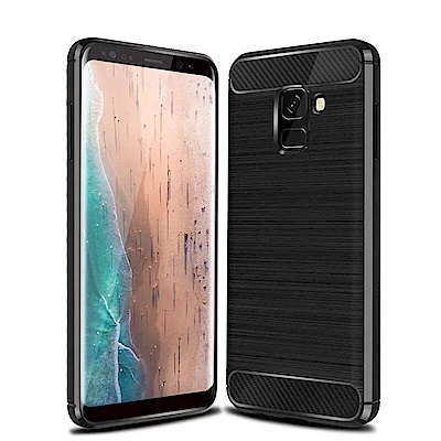 IN7 拉絲紋系列 Samsung A8 Plus 2018 碳纖維硅膠保護殼