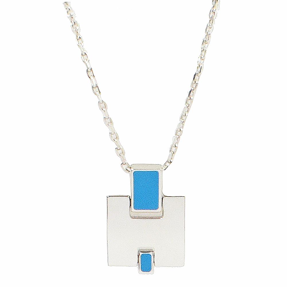 HERMES Eileen LOGO造型項鍊(銀/水藍)