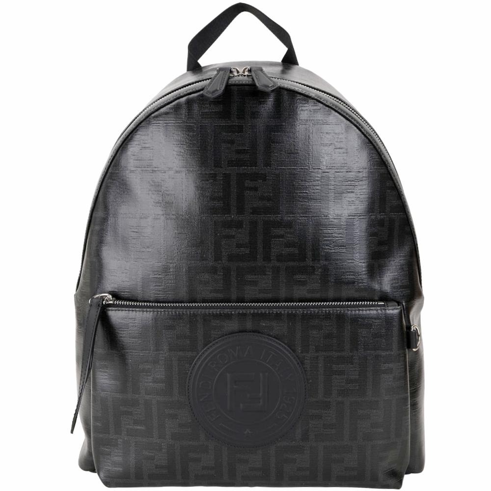 FENDI Stamp FF經典老花釉面帆布後背包(黑色)
