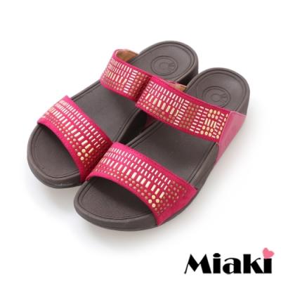 Miaki-拖鞋金屬時尚休閒坡跟涼拖-紅