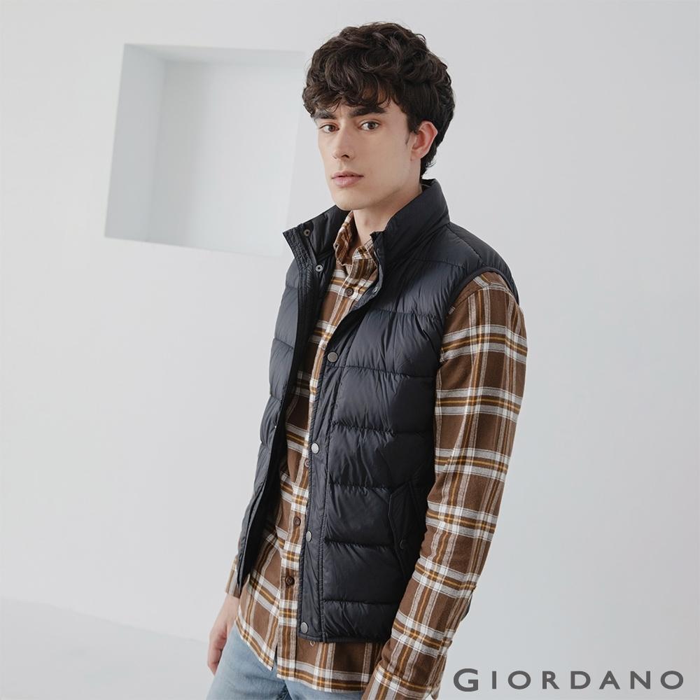 GIORDANO 男裝立領雙鈕扣口袋羽絨背心 - 01 標誌黑