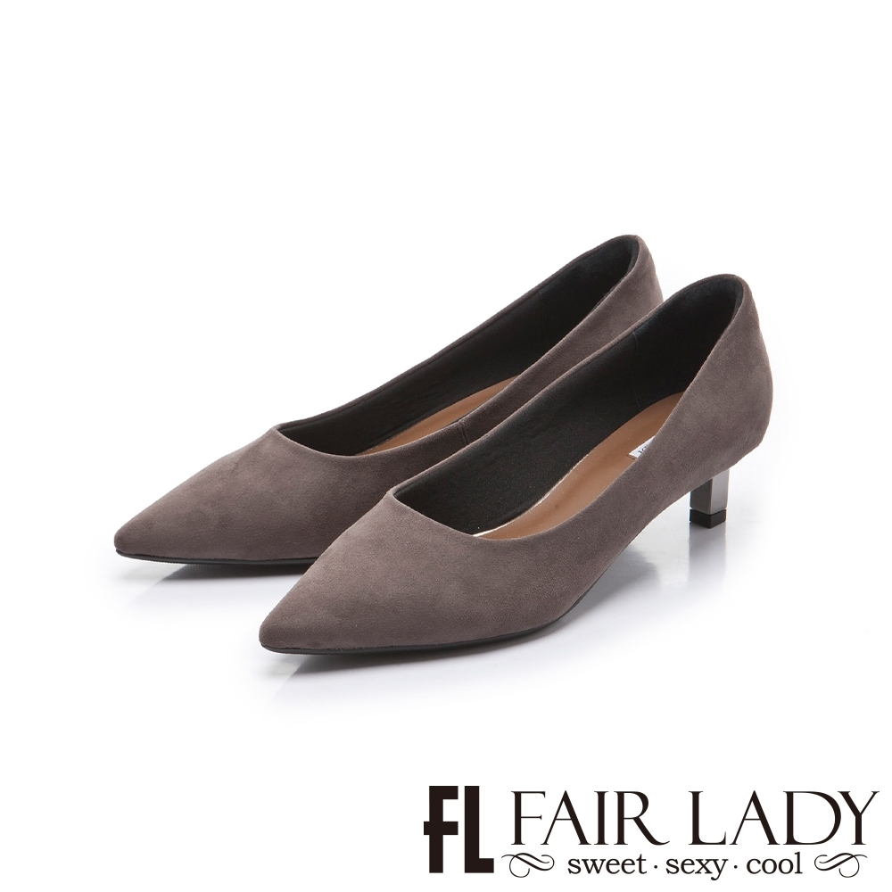 FAIR LADY 優雅小姐尖頭絨布圓口金屬低跟鞋 深灰