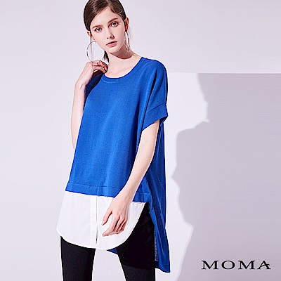MOMA 假兩件長版針織上衣