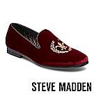 STEVE MADDEN-CRIMSON電繡絨面男士懶人鞋-絨酒紅