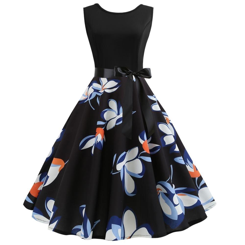 MOCO復古赫本風收腰綁黑緞帶藍白花朵印花大擺裙小禮服背心洋裝L~2L
