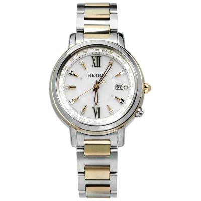 SEIKO 精工 LUKIA 太陽能 電波 藍寶石 鈦金屬 手錶-銀白x鍍金/30mm