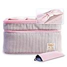 米蘭精品 化妝包隨身收納包-條紋蝴蝶結雙層女包情人節生日禮物73d15
