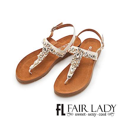 Fair Lady 水鑽拼接寶石T字夾腳涼鞋 白