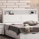 文創集 基特現代白6尺亮面雙人加大床頭箱(不含床底)-152x9x114cm免組