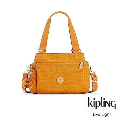 Kipling 焦糖拿鐵色素面梯形手提側背包-ORELIE