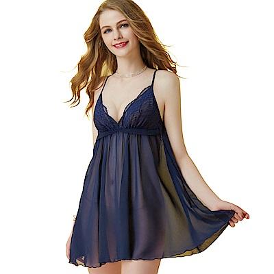 思薇爾 啵時尚系列蕾絲性感連身小夜衣(海藍色)