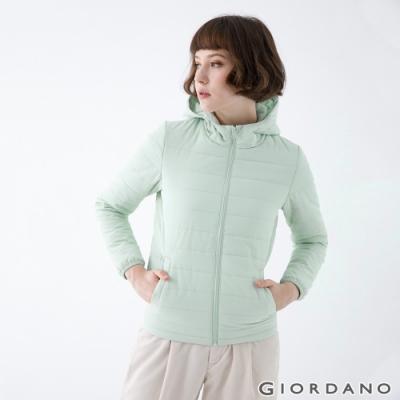 GIORDANO 女裝素色鋪棉連帽外套 - 52 淺綠