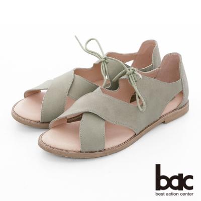 【bac】繽紛曼谷 -波浪大交叉綁帶涼鞋-淺綠色