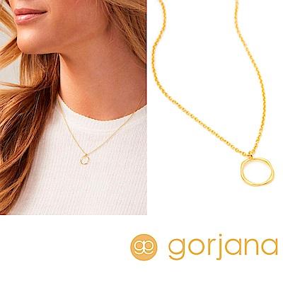 GORJANA 金色小圓項鍊 細緻波浪紋設計 鑲18K金 Quinn Delicate
